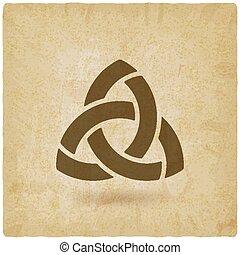 triquetra, simbolo, vecchio, fondo