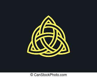 triquetra., trindade, knot., símbolo celtic, de, eternity., vetorial, ilustração
