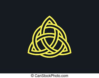 Triquetra. Trinity knot. Celtic symbol of eternity. Vector...