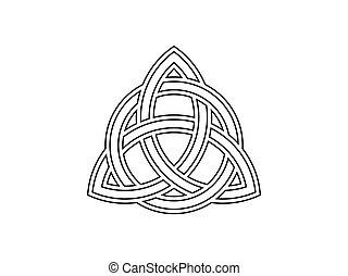 Triquetra. Trinity knot. Celtic symbol of eternity. Vector...