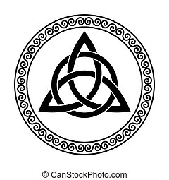 Triquetra with circle, triangular Celtic knot in circular spiral frame