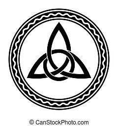 Triquetra with extra twist, Celtic knot, in a circle frame