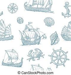 Seamless pattern with trireme, caravel, drakkar, junk, anchor, shell, wheel. Vintage monochrome vector engraving illustration for poster, label, postmark. Isolated on white background.