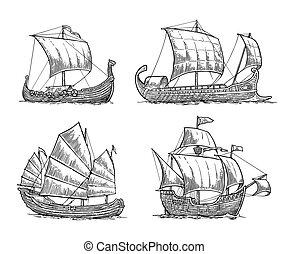 Trireme, caravel, drakkar, junk. Set sailing ships floating sea waves.