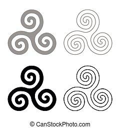 Triskelion or triskele symbol sign icon set grey black color vector illustration outline flat style simple image