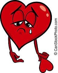 trist, brutet hjärta, tecknad film, illustration