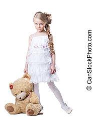 trist, liten flicka, med, len leksak