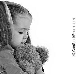trist, litet barn, hållande teddy björn