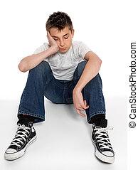 trist, loney, deprimerat, eller, håglös, pojke sitta