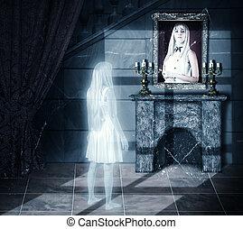 trist, spöke, tittande på, stående