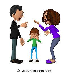 triste, 3d, niño, oído, el suyo, padres, discusión