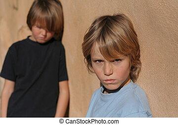 triste, abusado, abandonado, crianças rua