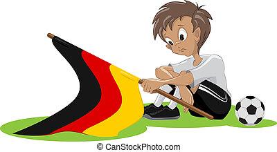 triste, allemand, football, ventilateur
