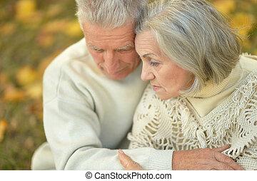 triste, ancião, par
