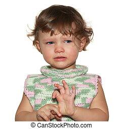 triste, bebê, isolado, branco, experiência., closeup, retrato