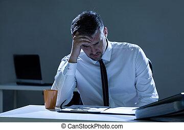 triste, bureau, homme