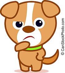 triste, caractère, dessin animé, chien