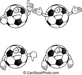triste, caricatura, fútbol, conjunto