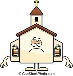 triste, caricatura, igreja