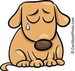 triste, caricatura, ilustração, cão