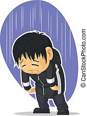triste, caricatura, menino