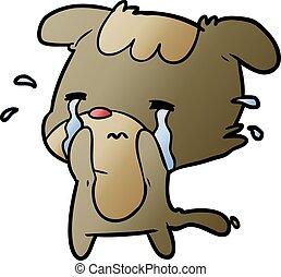 triste, chien, pleurer, dessin animé