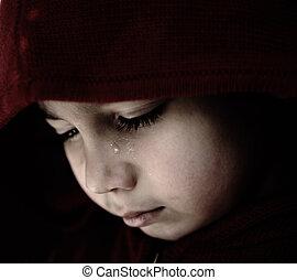 triste, chorando, criança