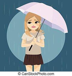 triste, chovendo, menina