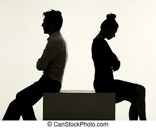 triste, coppia, detenere, un, argomento