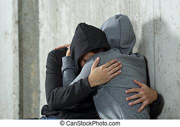 triste, coppia, di, adolescenti, durante, riconciliazione