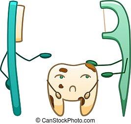 triste, dentaire, sale, soie, dessin animé, brosse dents