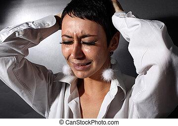 triste, depresión, mujer, con, lágrimas