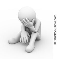 triste, deprimido, 3d, pessoa