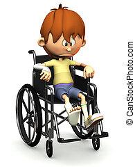 triste, dessin animé, garçon, dans, wheelchair.