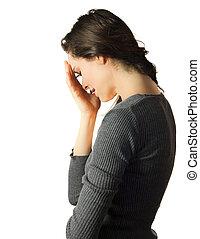 triste, e, deprimido, mulher chora