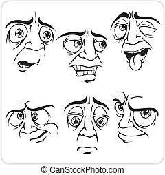 triste, expresiones faciales, -, vector, set.