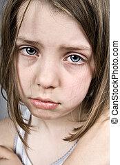 triste, eyed azul, criança