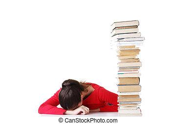 triste, femme, difficultés, étudiant, apprentissage