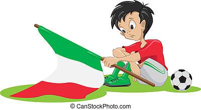 triste, football, ventilateur, italien