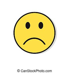 triste, gens, négatif, type caractère jaune, icône, émotion