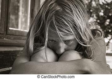 triste, giovane ragazza