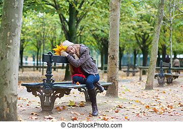 triste, girl, banc, parc, séance