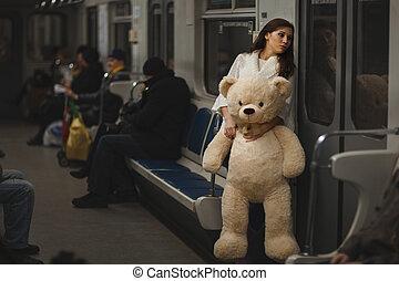 triste, girl, dans, les, subway.