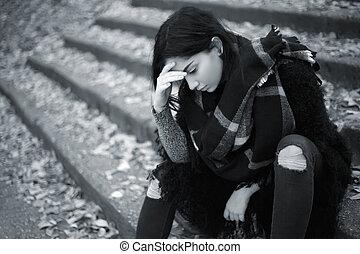 triste, girl, extérieur, adolescent