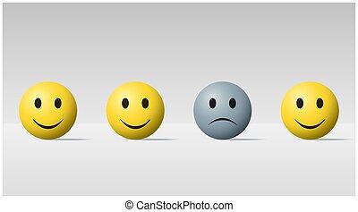 triste, heureux, balles, émotif, fond, figure, balle, 1
