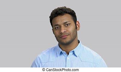 triste, hindou, jeune, portrait, dissapointed, guy.