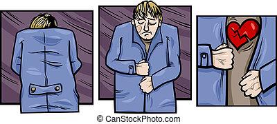 triste, hombre, con, corazón roto, cómicos