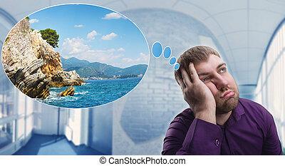 triste, hombre, soñar aproximadamente, vacaciones
