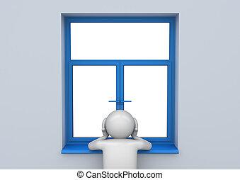 triste, homem, pela janela, -, estilo vida, cobrança
