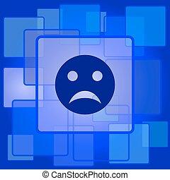triste, icône, smiley